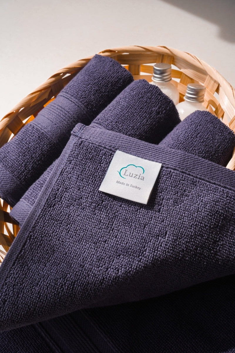 Luzia Navy Blue Washcloth in Basket