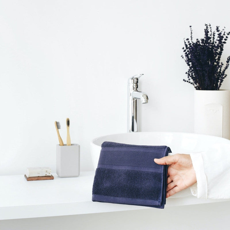 Luzia Navy Blue Towels in Bathroom