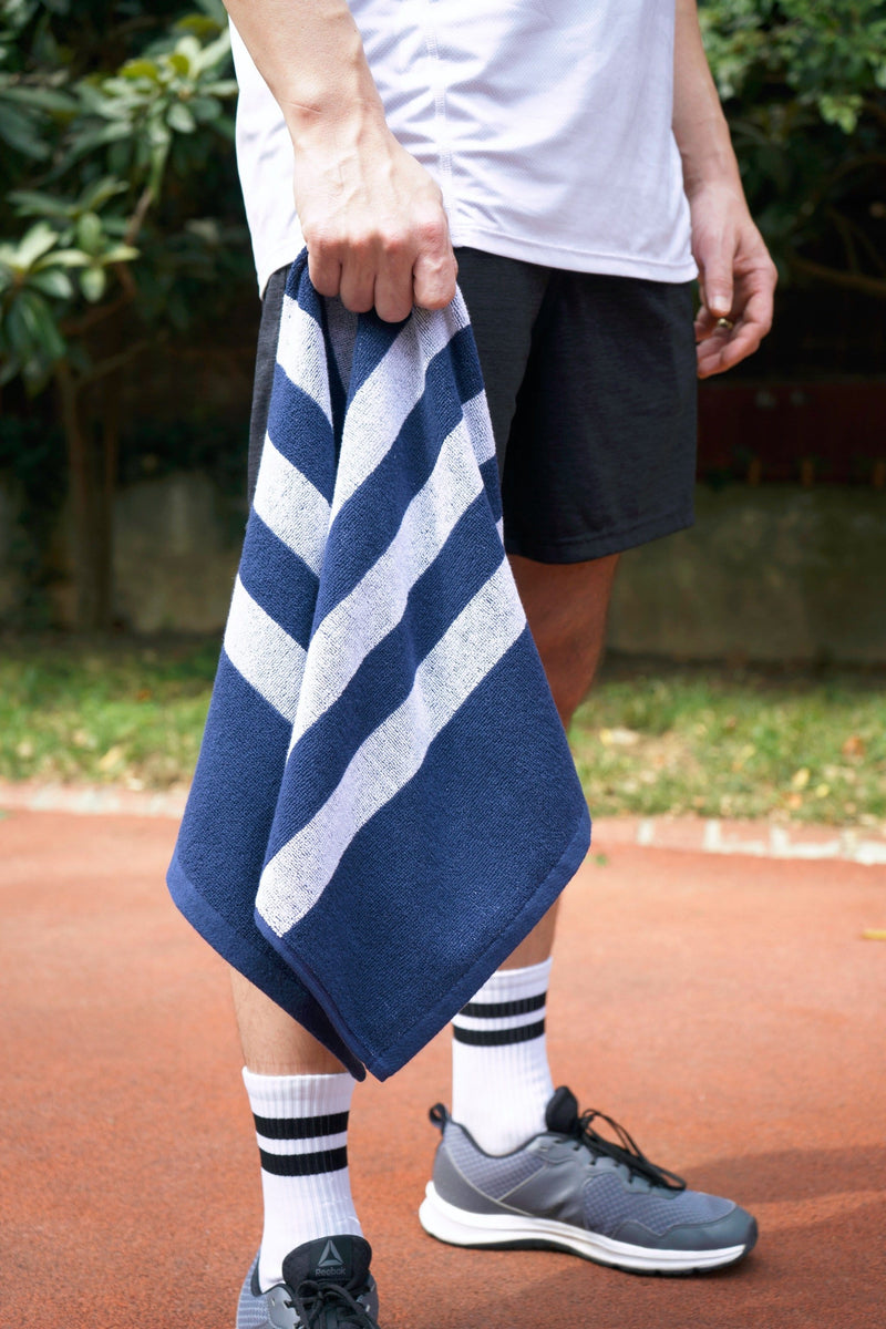 Striped Workout Towel in Blue-Luzia