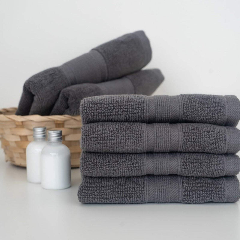 Charcoal Grey Towels on a Bathroom by Luzia