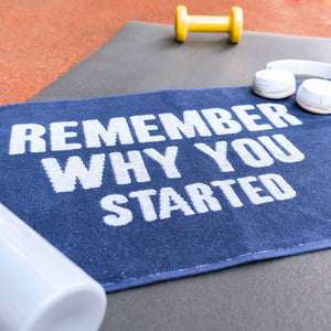 Motivational Workout Towel in Blue