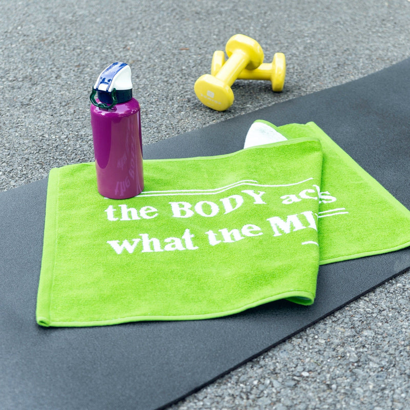 Motivational Workout Towel in Green-Luzia