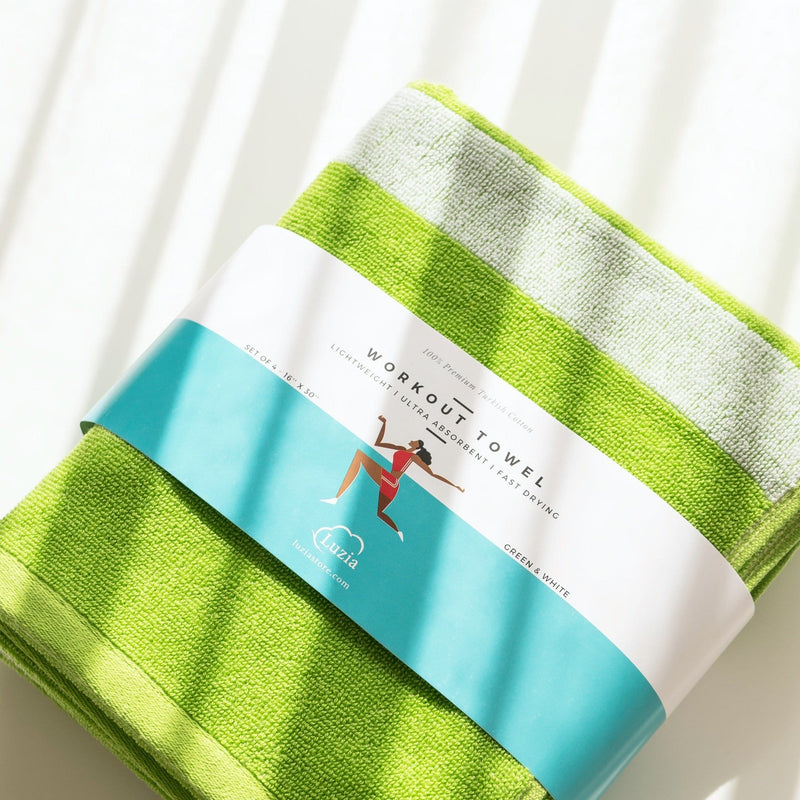 Striped Workout Towel in Green-Luzia