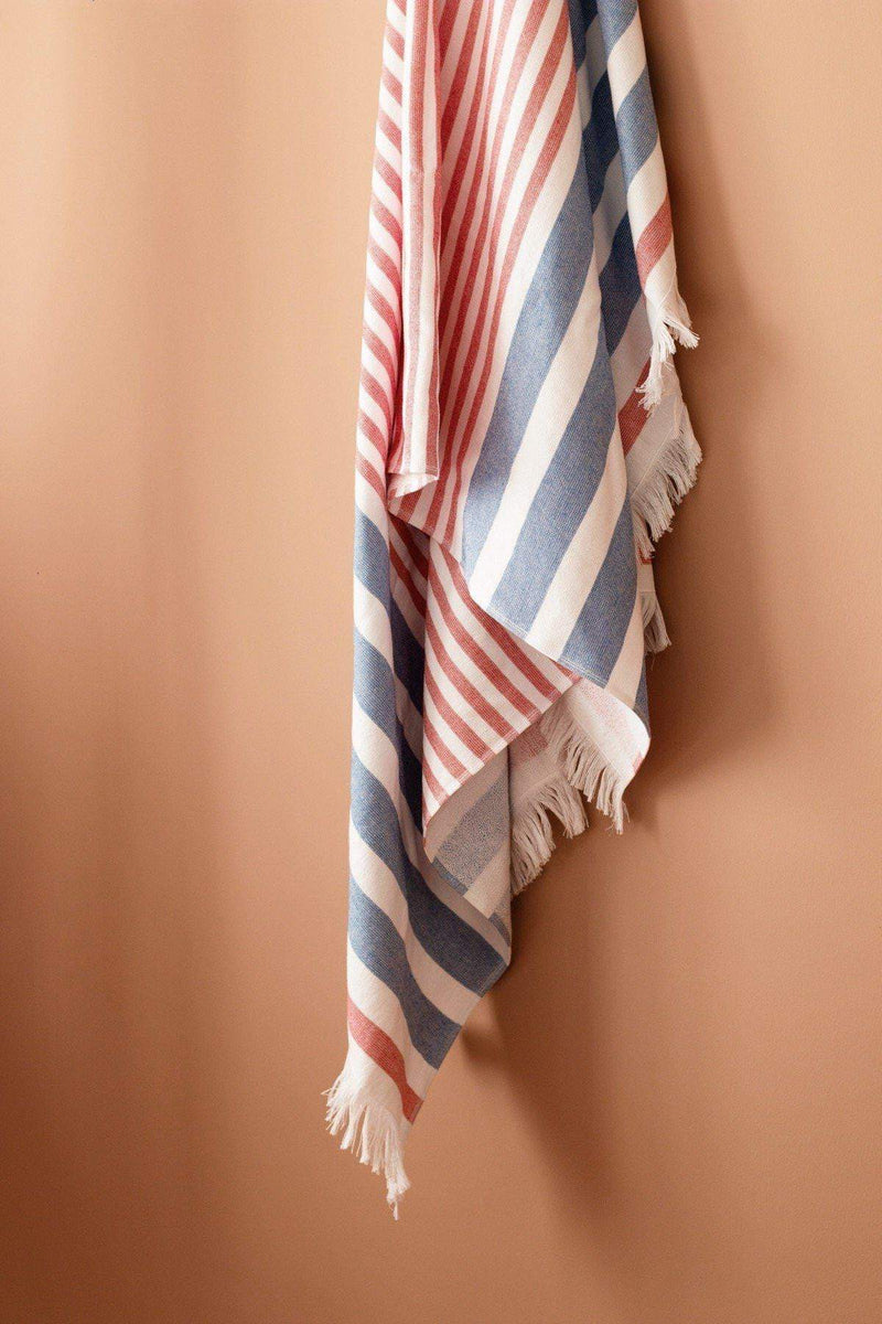 Luzia Peshtemal Beach and Pool Towel Blue and Red Cabana Stripes