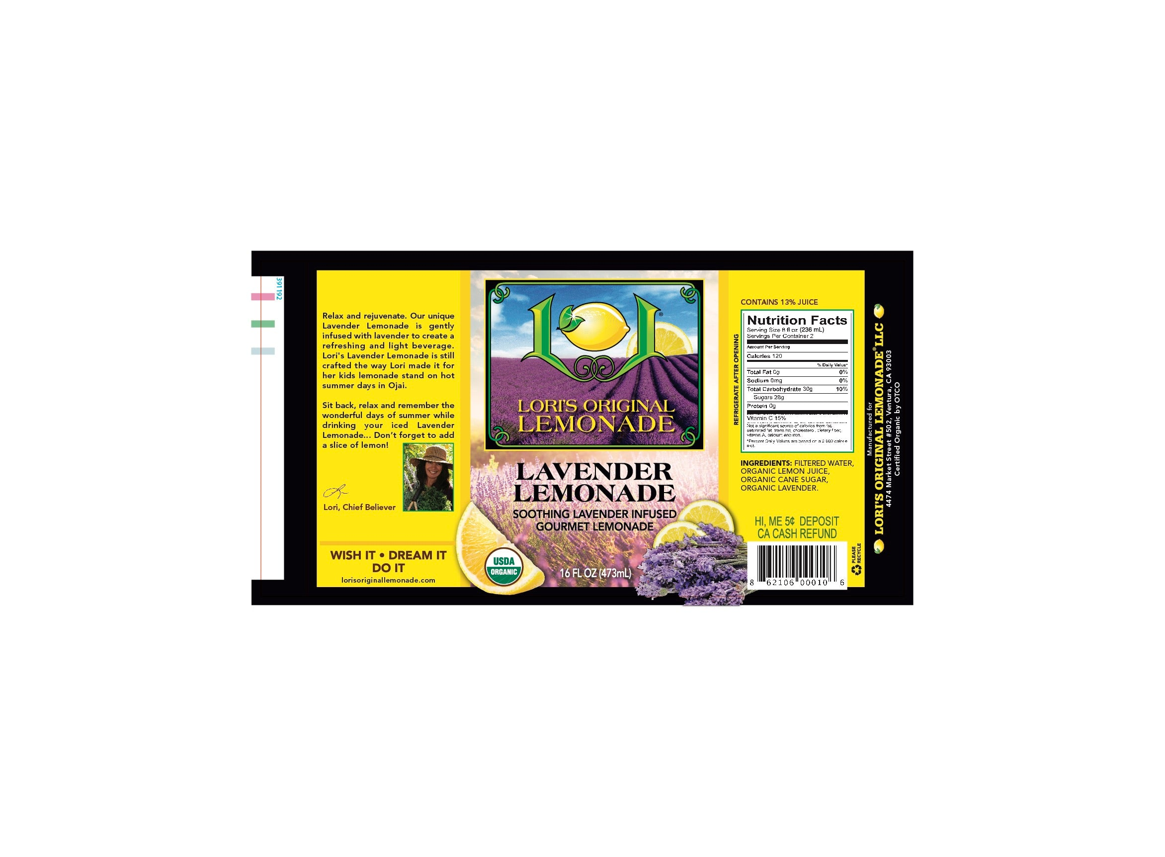 Organic Lavender Lemonade - Lori's Original Lemonade