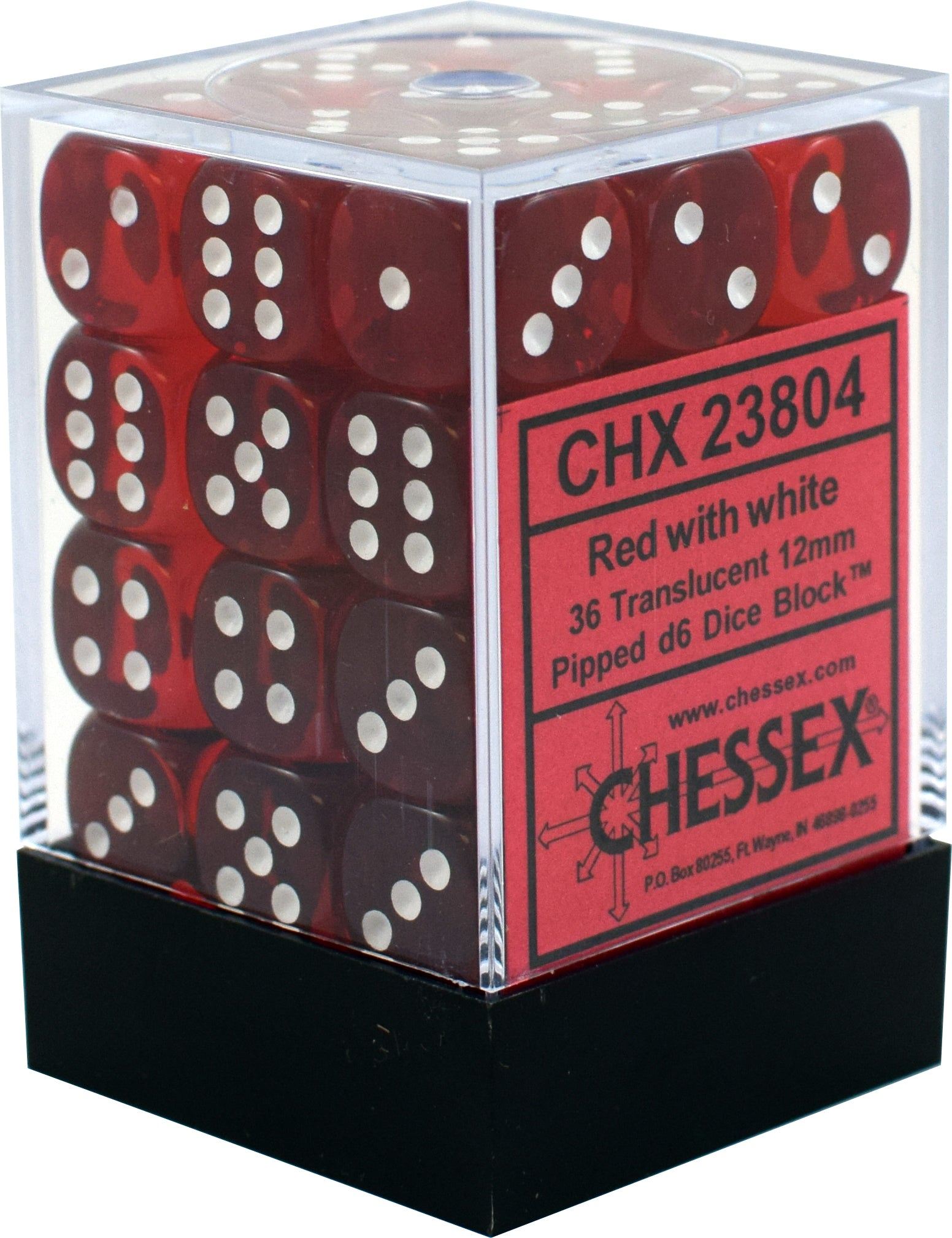 36 Red w/white Translucent 12mm D6 Dice Block - CHX 23804 | North of Exile Games
