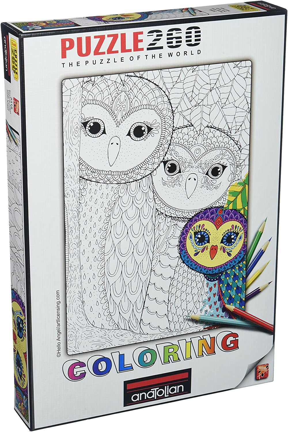 Puzzle - 260 pcs - Colouring Owls Family | North of Exile Games