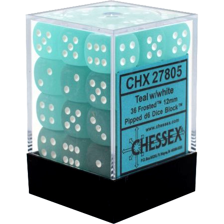 36 Teal /white Frosted 12mm D6 Dice Block - CHX27805 | North of Exile Games