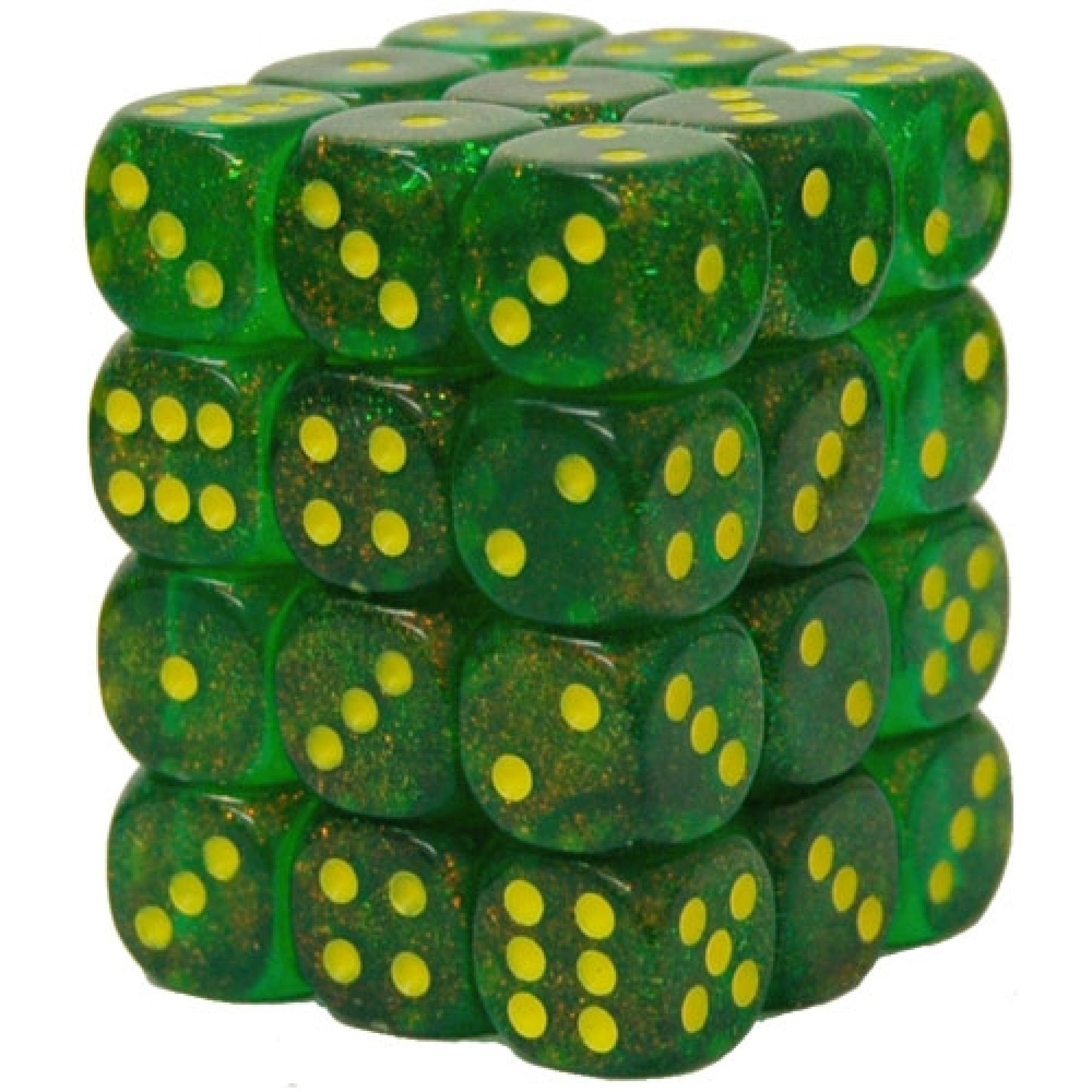 36 Maple Green w/Yellow Borealis 12mm D6 Dice Block - CHX27965 | North of Exile Games