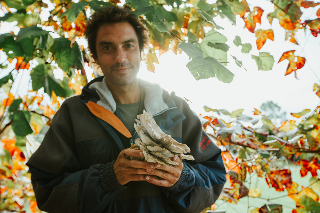 Billy holding oyster mushrooms under Autumnal leaves
