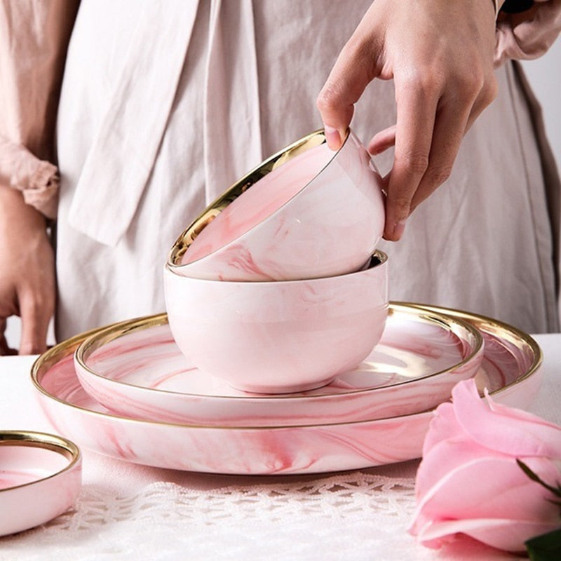 Candied Pink Marble Dining Set