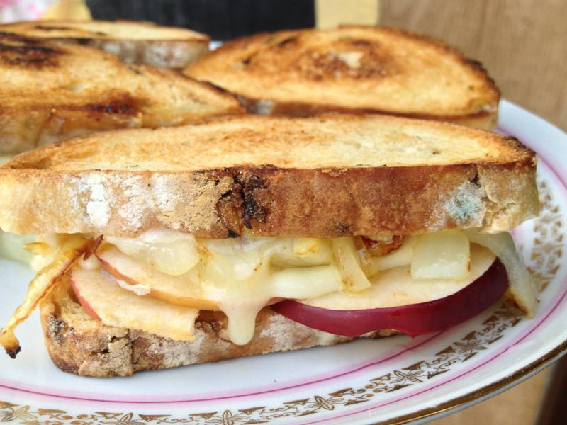 Grilled Apple, Onion and Cheese on Light Rye Bread