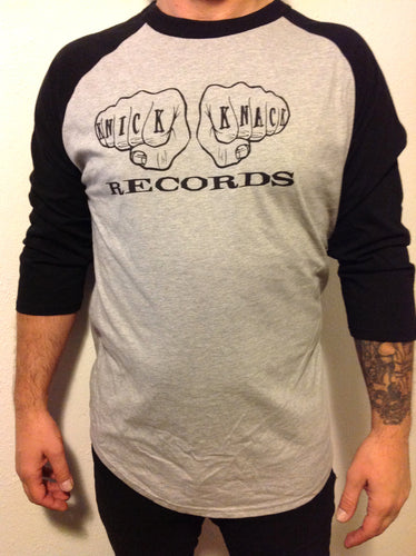 Knick Knack Records 12 Fingers of Doom mens baseball shirt