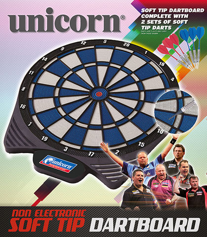 Unicorn Soft Tip Dartboard inc 2 Sets of Darts