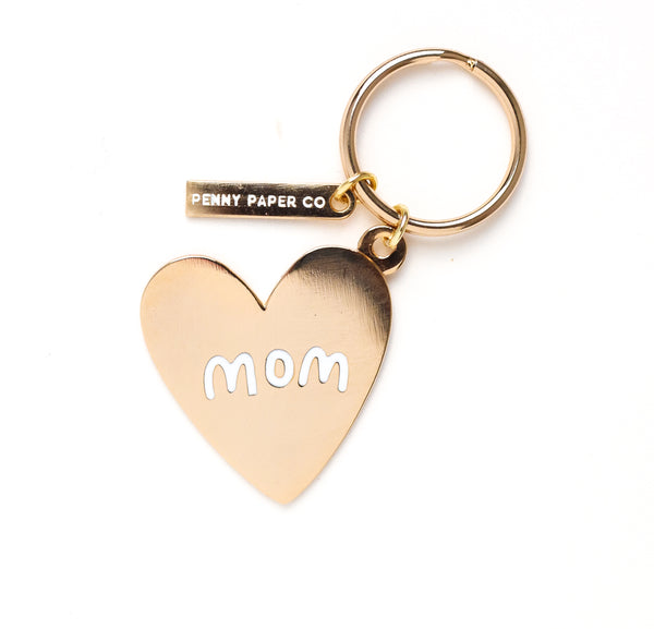 Enamel Mom Gold Heart Keychain