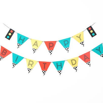 buy vintage race car birthday banner