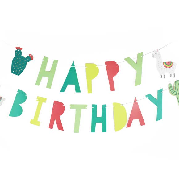 buy llama & cactus birthday party banner