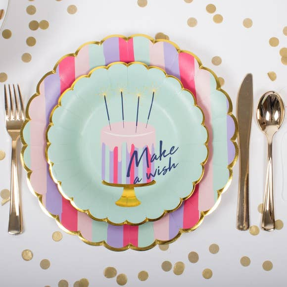 buy striped party paper plates
