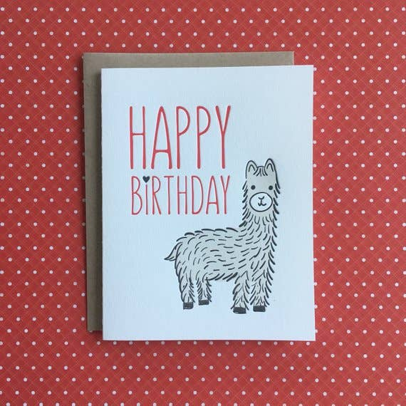 buy happy birthday card with llama