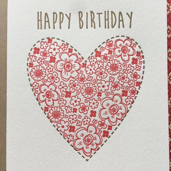 Lucky Bee Press - Happy Birthday Floral Heart
