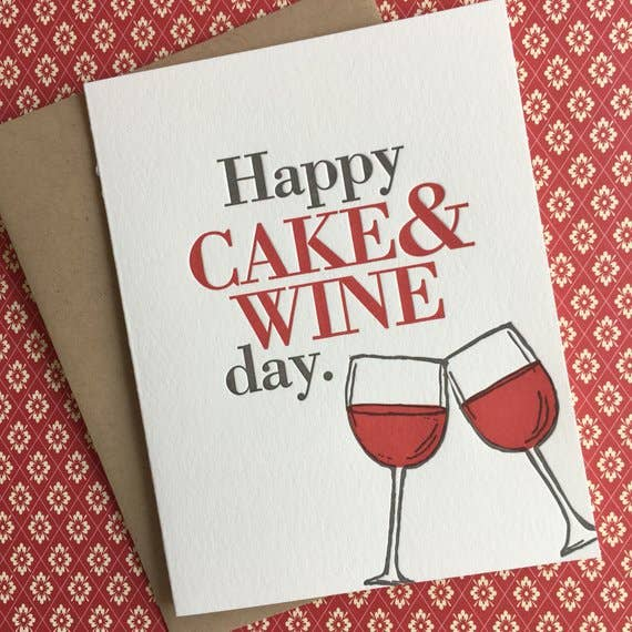 buy unique happy birthday card with cake and wine