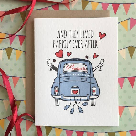 happily ever after bride and groom marriage card