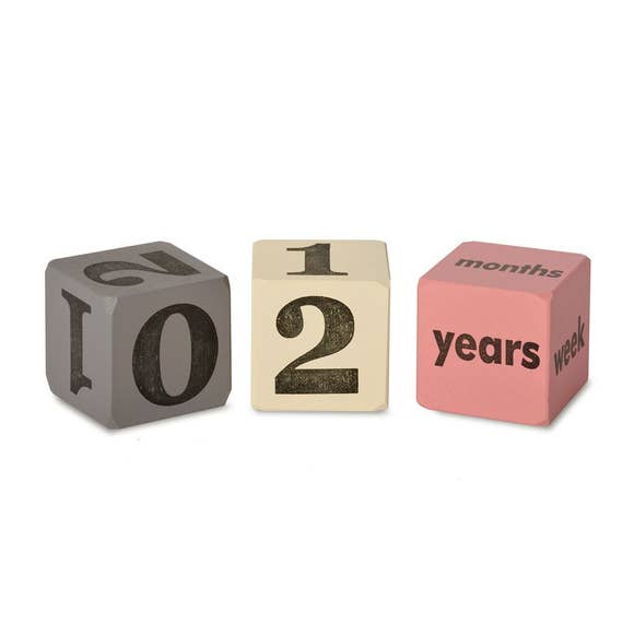 Age Blocks Pink & Grey (Set of 3)