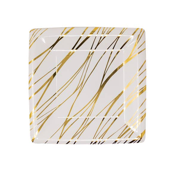 buy gold striped dessert plates
