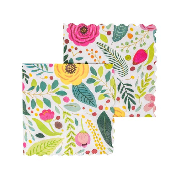 Floral Pattern Cocktail Napkins
