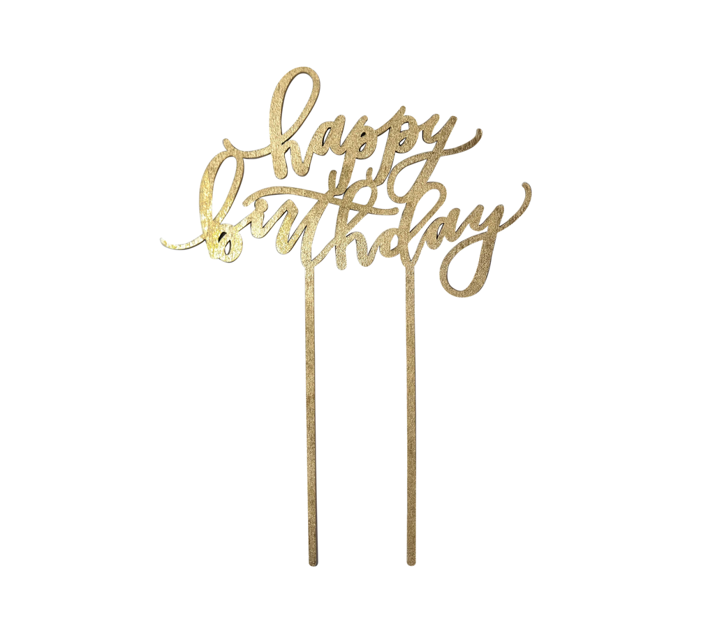 Worthwrite Goods - Happy Birthday Cake Topper - Gold