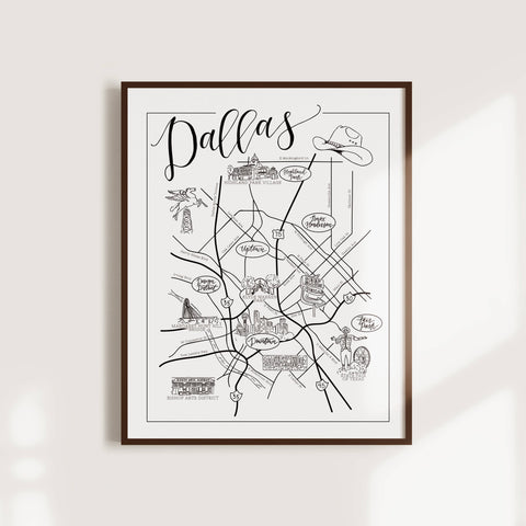 "Worthwrite Goods - 11"" x 14"" Black and White Dallas City Map"