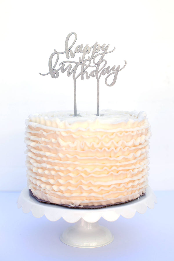 Worthwrite Goods - Happy Birthday Cake Topper - Silver