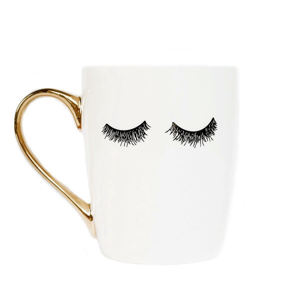 buy eyelashes gold coffee mug
