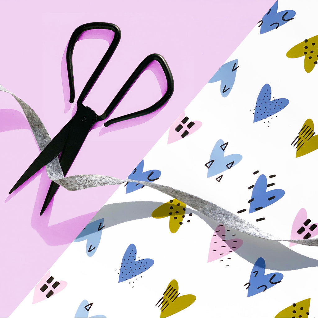 Patterned Hearts Wrapping Paper Sheet