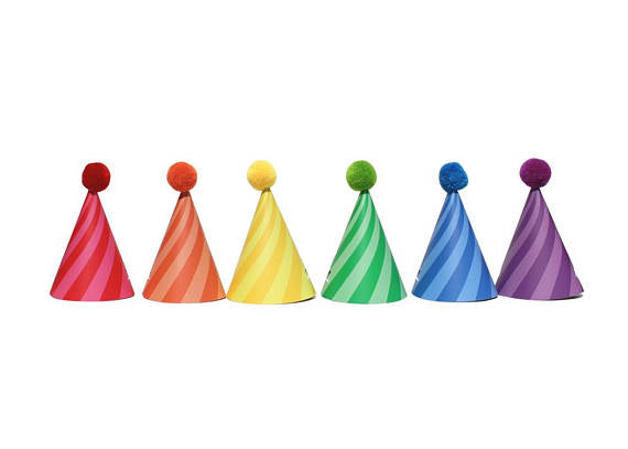 Sweet Rainbow Mini Party Hats (12 Pack)