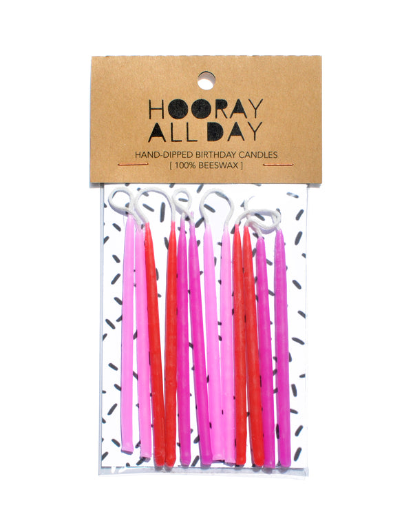 100% Beeswax Hand-Dipped Pink Birthday Candles