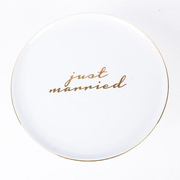 buy just married gold white cake stand