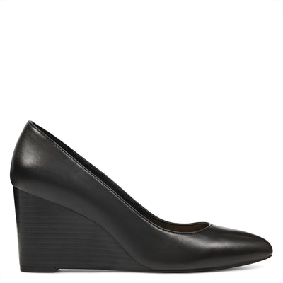 나인 웨스트 NINE WEST Jazzin Almond Toe Wedges,Black Leather
