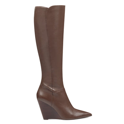 나인 웨스트 NINE WEST Varin Wide Calf Wedge Boots,Brown Leather
