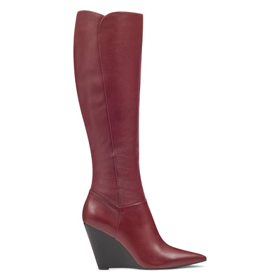 나인 웨스트 NINE WEST Varin Wedge Boots,Wine Leather