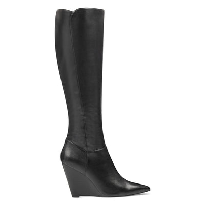 나인 웨스트 NINE WEST Varin Wedge Boots,Black Leather