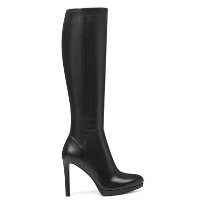 나인 웨스트 NINE WEST Quizme Platform Boots,Black Leather