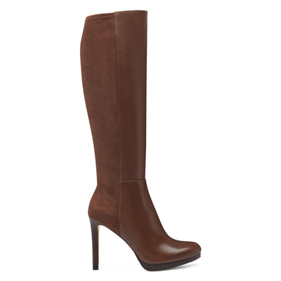 나인 웨스트 NINE WEST Quizme Platform Boots,Brown Leather/Suede
