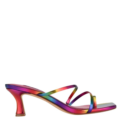 나인 웨스트 NINE WEST Aila Heeled Slide Sandals,Rainbow