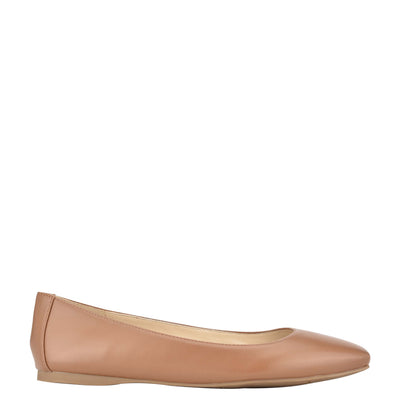나인 웨스트 NINE WEST Alena Square-Toe Flats,New Luggage