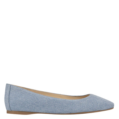 나인 웨스트 NINE WEST Alena Square-Toe Flats,LIght Blue Denim