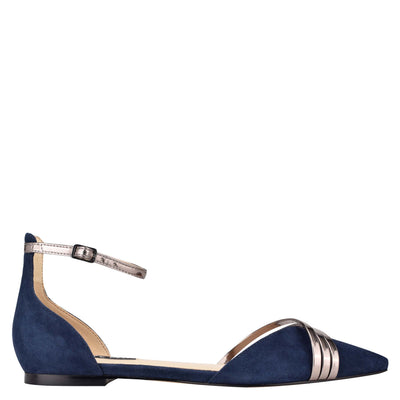나인 웨스트 NINE WEST Brana Pointy Toe Flats,Navy/Pewter