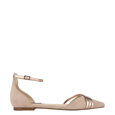 나인 웨스트 NINE WEST Brana Pointy Toe Flats,Barely Nude/Rosegold