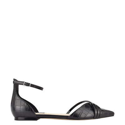 나인 웨스트 NINE WEST Brana Pointy Toe Flats,Black Embossed Croco