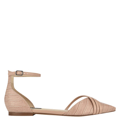 나인 웨스트 NINE WEST Brana Pointy Toe Flats,Peach Tan Embossed Croco